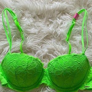34B Victoria Secret green lace push up bra